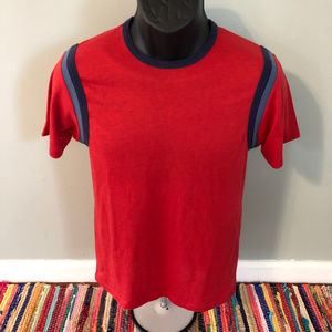1970s Ringer Striped Tee Shirt Made USA Red Medium